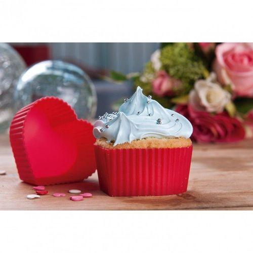 Kit 6 Forminhas De Silicone Para Cupcake E Muffin  Coracao