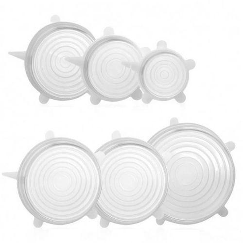 Kit 6 Tampas de Silicone Transparente