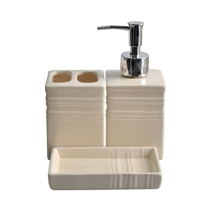 Kit Banheiro Porcelana Quadrado 3pcs Luxo