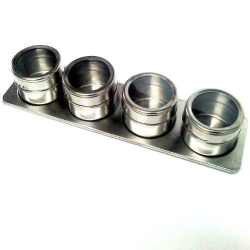 Kit Porta Temperos E Condimentos Em Aço Inox Magnetico Metalizado 4 pçs