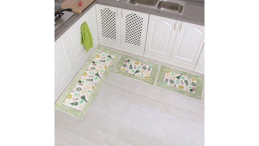 Kit Tapete de Cozinha Algodão Cru 3 Peças  Ornare