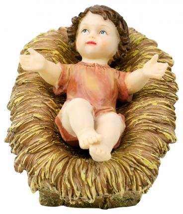 Menino Jesus de Poliresina Na Manjedoura 18cm