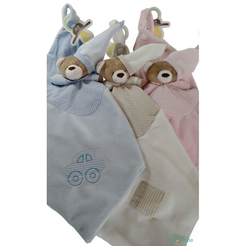 Naninha de Plush Blanket Urso Nino  com prendedor de chupeta