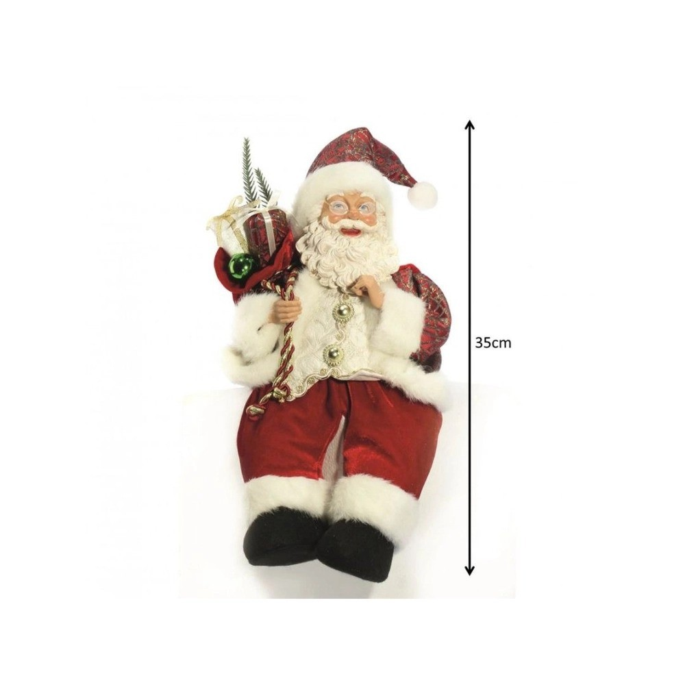 Papai Noel à Corda Musical e Movimento 35cm Sentado Casaco Vinho e Dourado