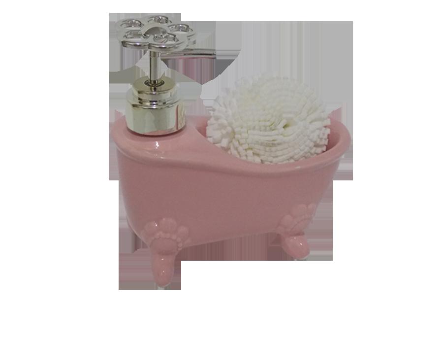 Porta Sabonete Liquido Banheira com Esponja Retro