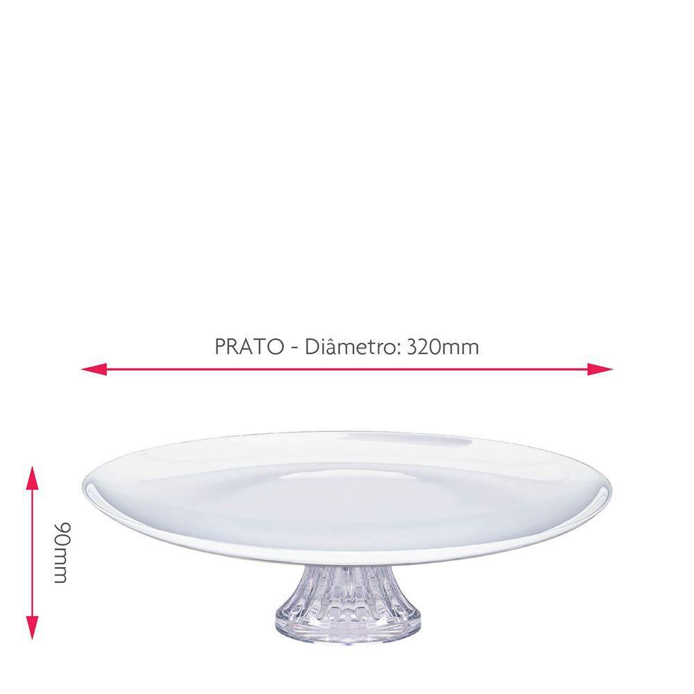 Prato de Vidro para Bolos com Pé  Branco