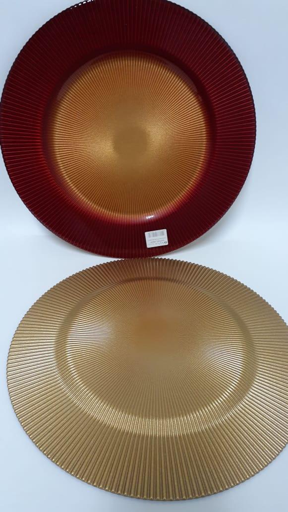 Prato  Luci Vermelho com Ouro 34 cm