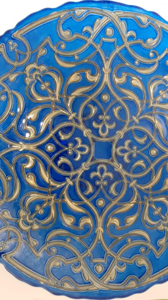 Prato para Bolo com Pé 34 cm Azul com Ouro