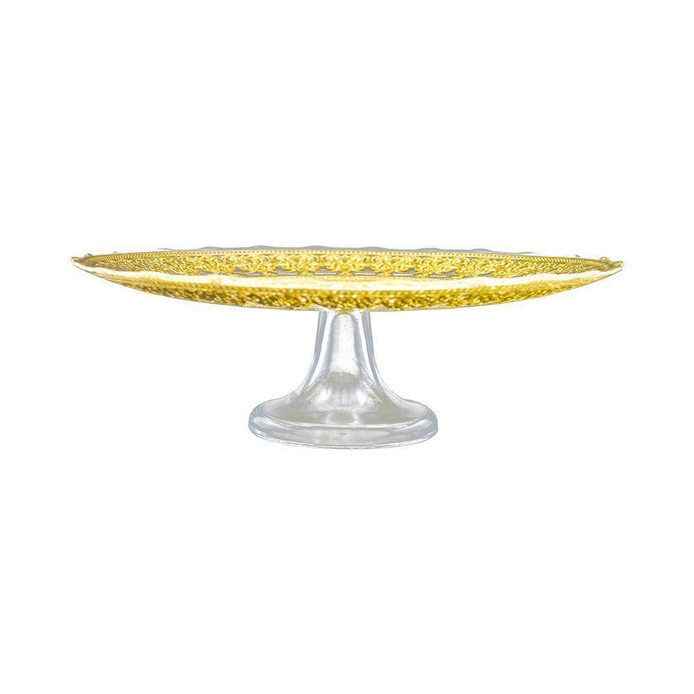 Prato para Bolo com Pé  Transparente e Ouro 33 cm