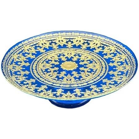 Prato para Bolo com Pé Vylux Impero Azul com Ouro 33 cm