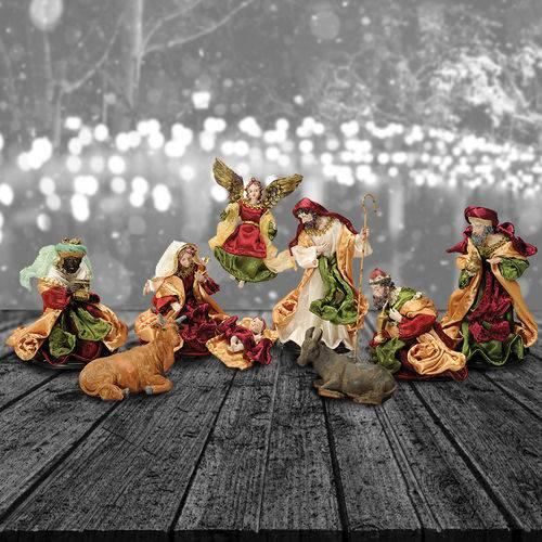 Presépio i Plus Seda 9 Figuras 15 cm Vinho / Verde