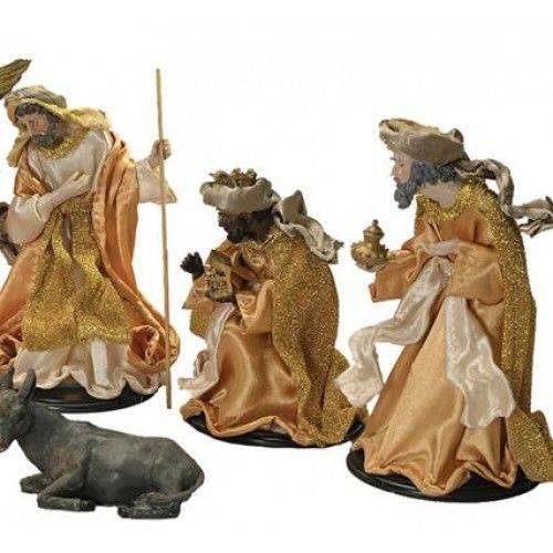Presépio Natal 9 Figuras Plus Seda Rustico Dourado 15cm