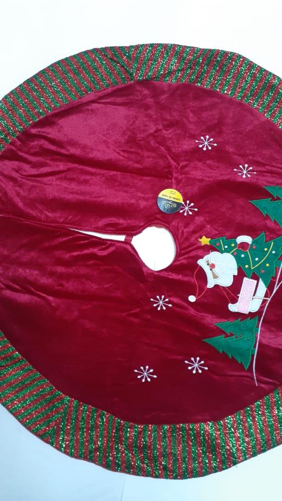 Saia Árvore Natal Veludo Decorado Com Brilho nas Bordas 90 cm