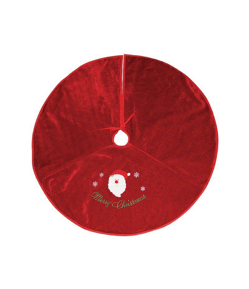 Saia Árvore Natal Veludo Decorado Vermelha 100 cm
