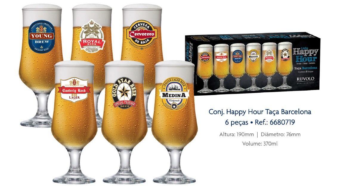 Taças Cerveja Barcelona Happy Hour  Com 6 Peças 370ml
