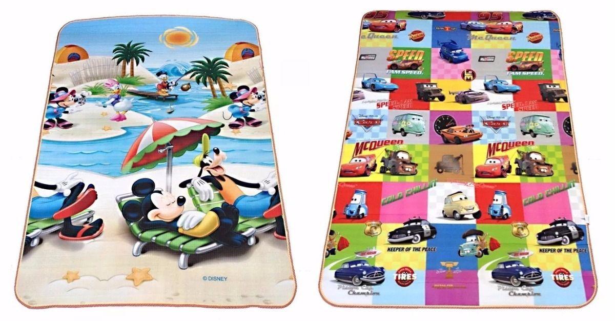 Tapete Recreio Mickey X Carros 1,80 X 1,20 M Frente E Verso