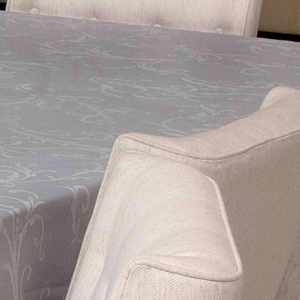 Toalha De Mesa Impermeavel Retangular Hibisco Branco 160x4,00m