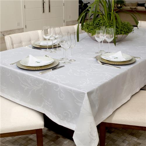 Toalha De Mesa Impermeavel Quadrada 160x160 Hibisco Branca