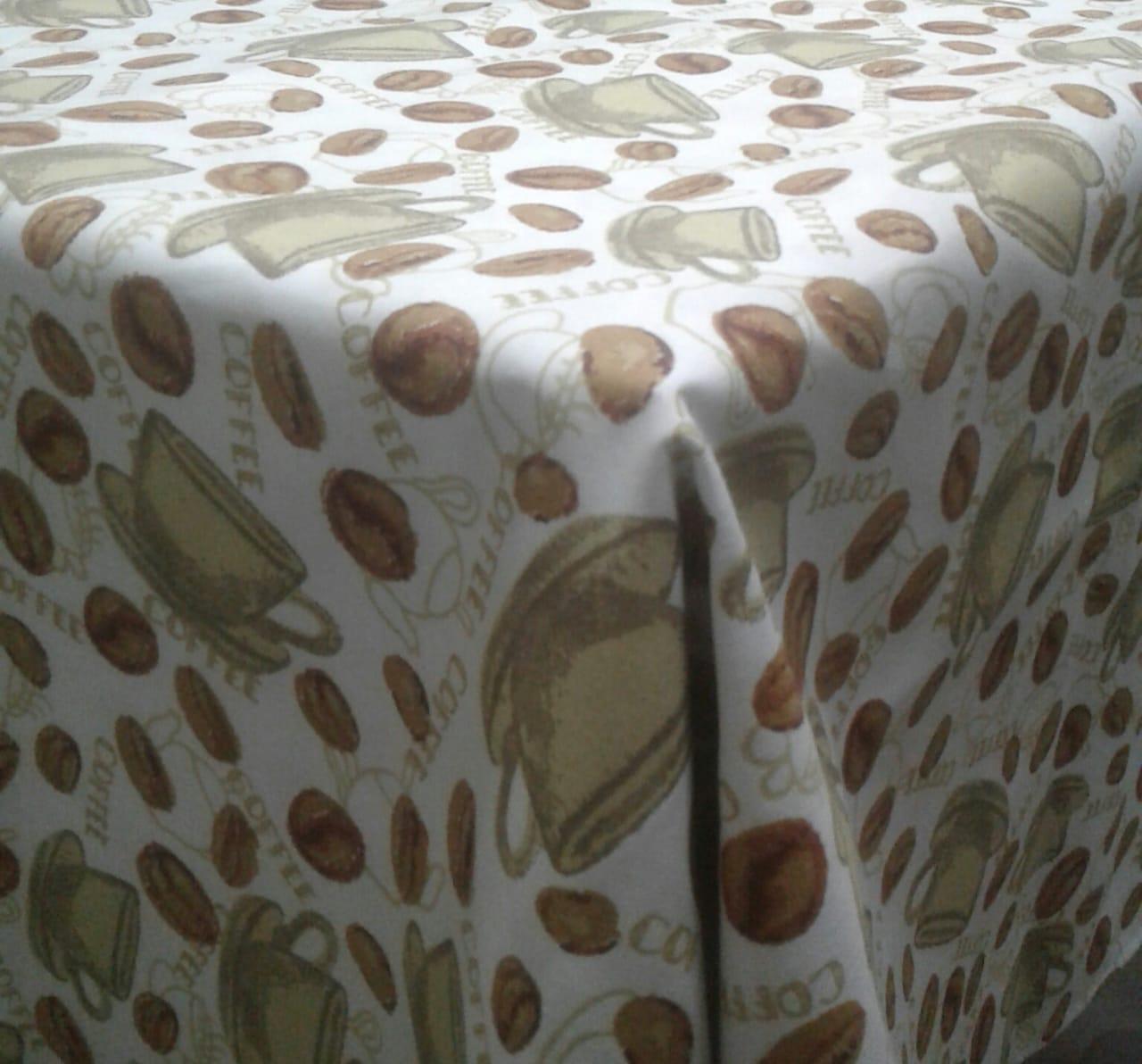 Toalha de Mesa Quadrada Impermeavel 140x140cm Cafe