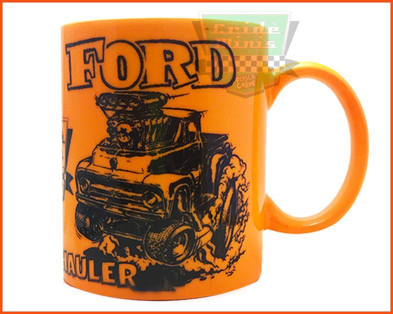 Caneca Chevy and Ford Laranja Fluorescente