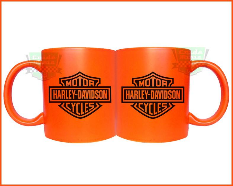 Caneca Harley Davidson Laranja Fluorescente