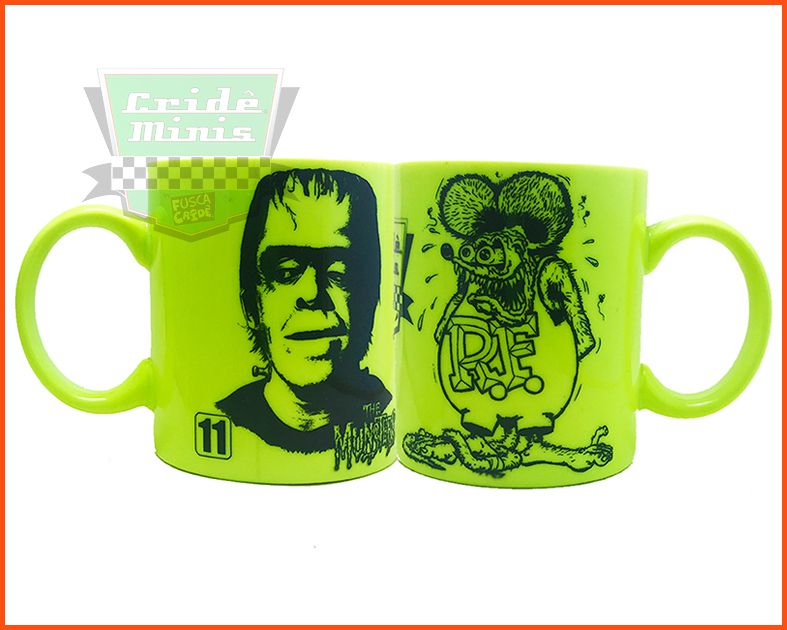 Caneca Munster and Rat Fink Amarelo Neon Fluorescente
