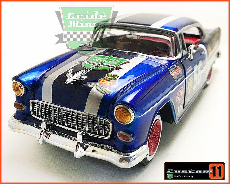 Chevrolet Belair 1955 Rally Histórico c/ Caixa de Madeira - Peça única EXCLUSIVA - Escala 1/24 - 15 dias para produzir