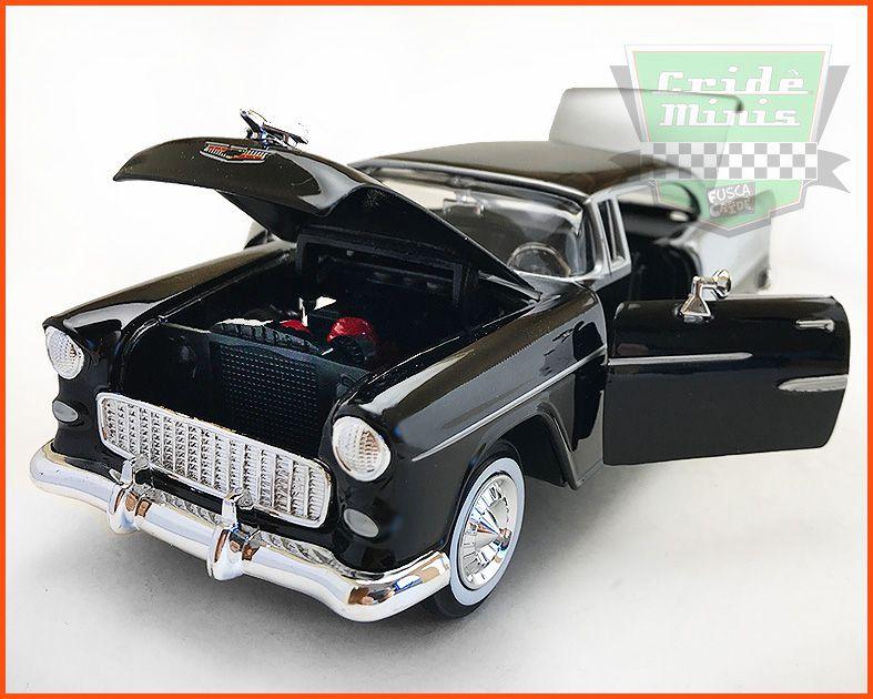 Chevrolet Belair 1955 Silver Black - Escala 1/24