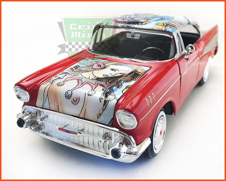 Chevrolet Belair 1957 Pintura Hidrográfica Peça Única - Escala 1/24