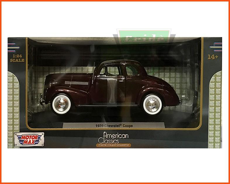 Chevrolet Coupe 1939 vinho com caixa individual e base - Escala 1/24