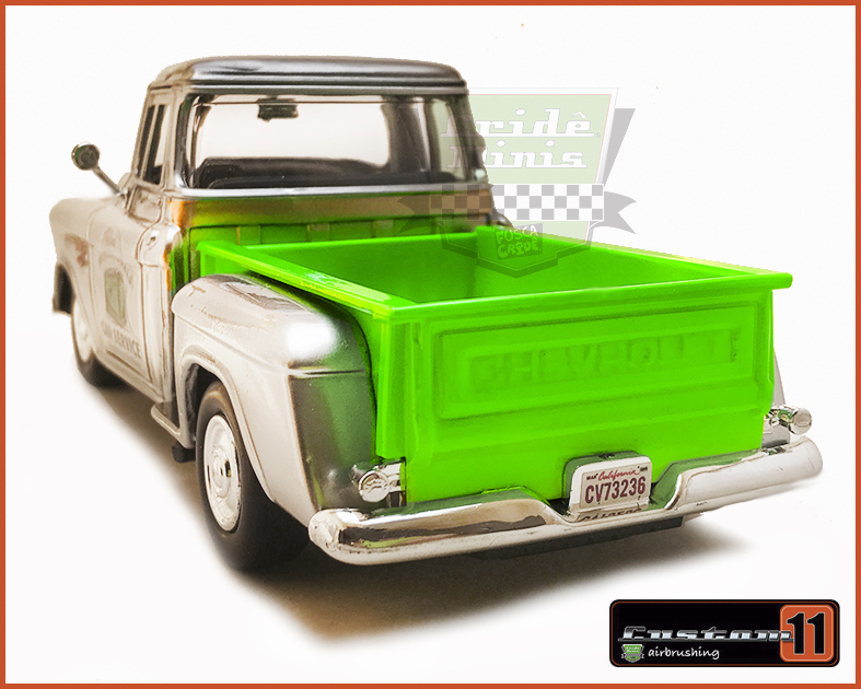 Chevrolet Pick-up 1955 Stepside Car Service Cromo Customizado Peça única - escala 1/24