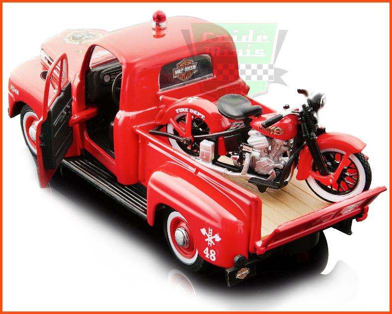 Ford F1 Pick-up 3100 1948 Harley Davidson 1936 - Escala 1/24
