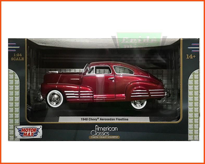 Chevy Aerosedan Fleetline Vinho 1948 c/ caixa expositora e base - escala 1/24