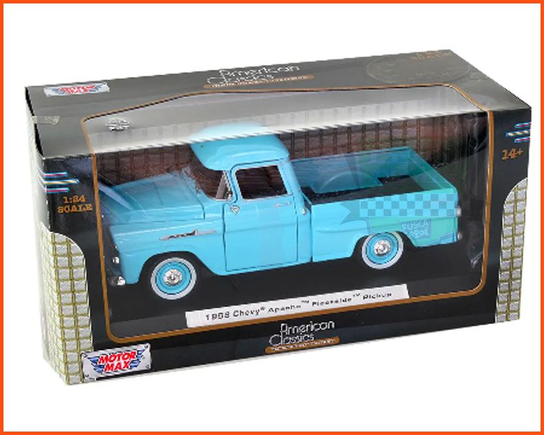 Chevy Apache Fleetside Pick-up 1958 com caixa expositora e base - escala 1/24