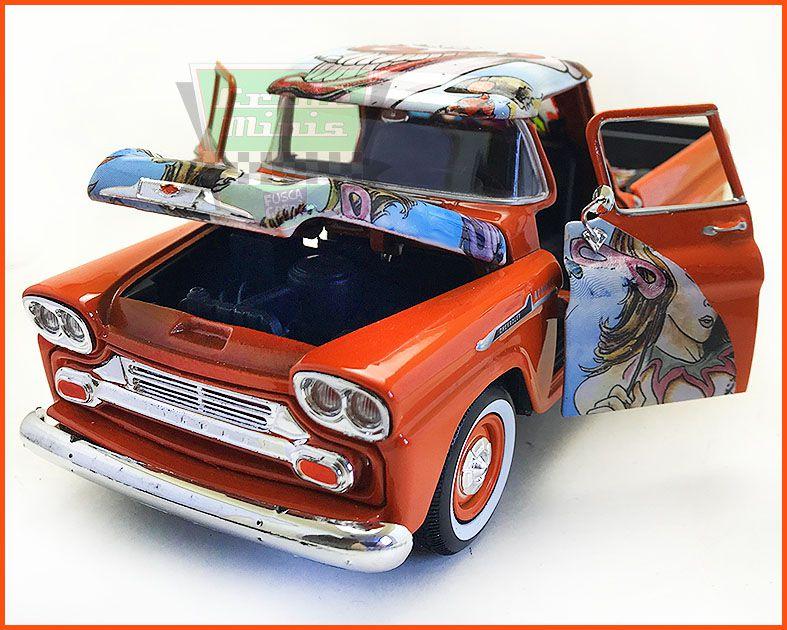 Chevy Apache Pick-up 1958 Pintura Hidrográfica Peça Única - escala 1/24