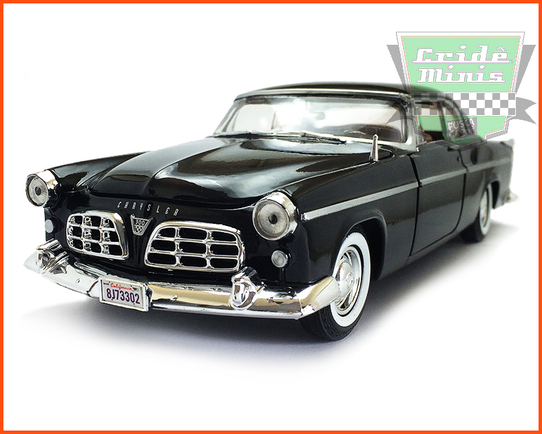 Chrysler C300 1955 com caixa individual e base - escala 1/24