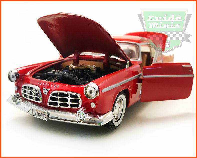 Chrysler C300 1955 red com caixa expositora e base - escala 1/24
