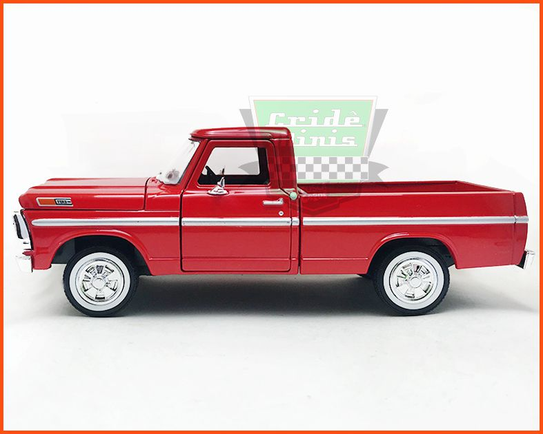 Ford F-100 1969 Red com caixa expositora e base - escala 1/24