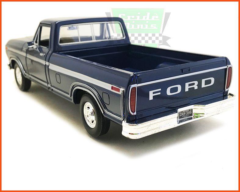 Ford F-150 1979 Azul com caixa expositora e base - escala 1/24