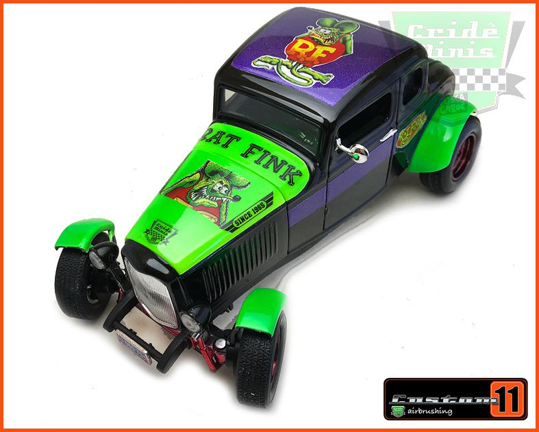 Ford Five Windw Coupe 1932 Customizado Rat Fink Peça única- escala 1/18