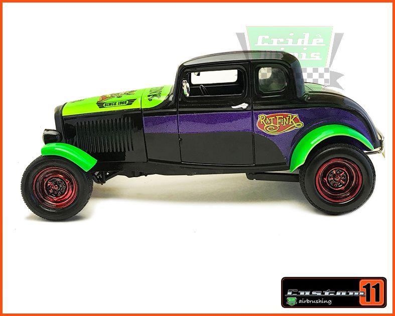 Ford Five Windw Coupe 1932 Customizado Rat Fink Peça única- escala 1/18