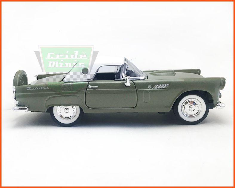 Ford Thunderbird 1956 Verde c/ caixa expositora e base - escala 1/24