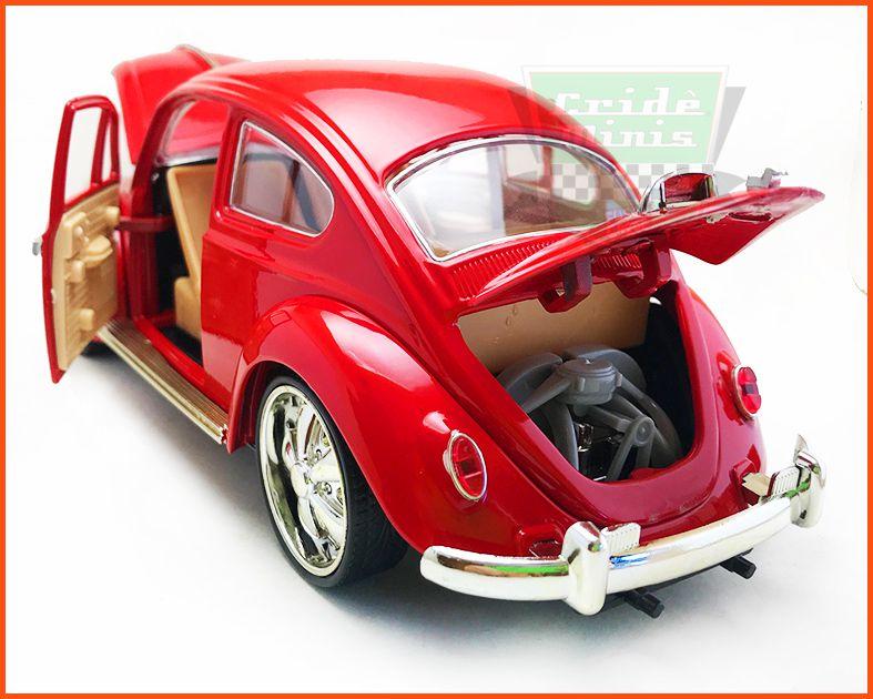 Fusca Sedan Rodas Esportivas Vermelha  - Escala 1/18