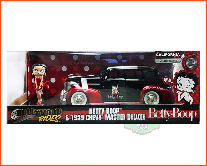 Jada Betty Boop & Chevy  Master DeLuxe 1939 com figura  - Escala 1/24
