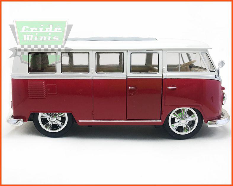 VW Kombi De Luxo - Teto Solar Vermelha Rodas esportivas - escala 1/24
