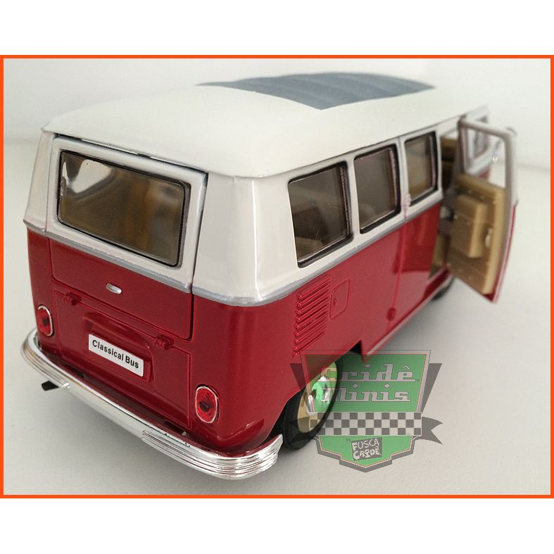 VW Kombi De Luxo - Teto Solar Vermelha - escala 1/24