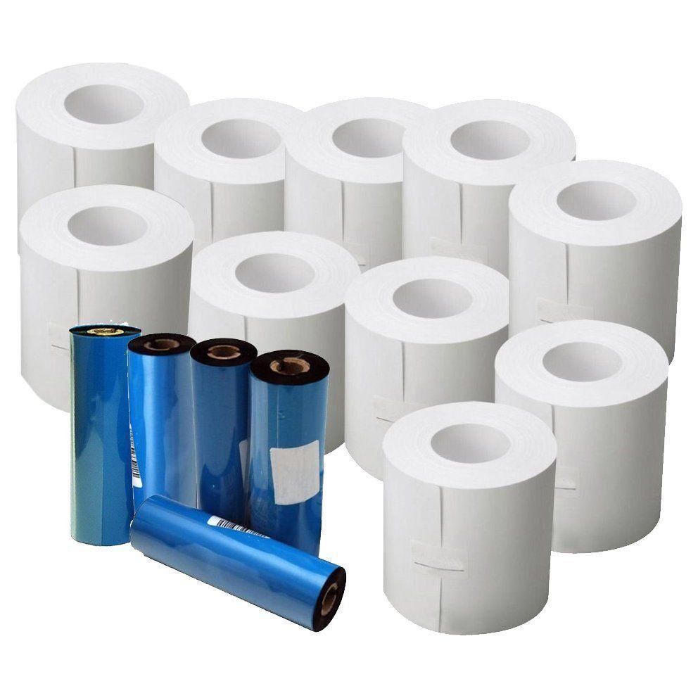 10 rolos c/ 250 Etiquetas 100x150 + 5 Ribbon Cera p/ Mercado Envios  - EMPORIO K