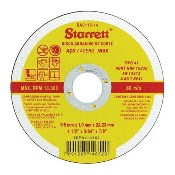 12 Disco De Corte 4 1/2 Aço Inox Dac115-14 Starret 1.0mm  - EMPORIO K