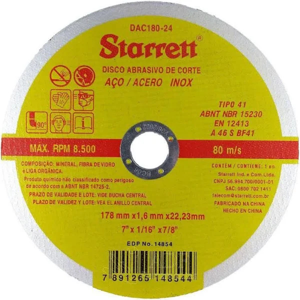 12 Disco De Corte 7 1/6 Aço Inox Dac 180-24 Starrett 1,6mm  - EMPORIO K