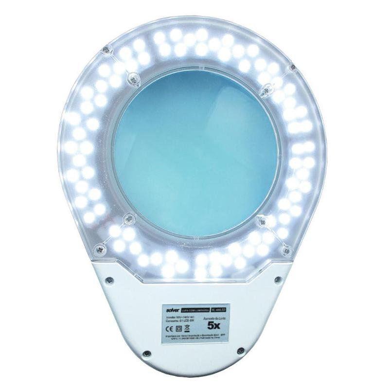 Lupa de Bancada Estetica 5x HL-410 60 LEDs Bivolt Solver  - EMPORIO K